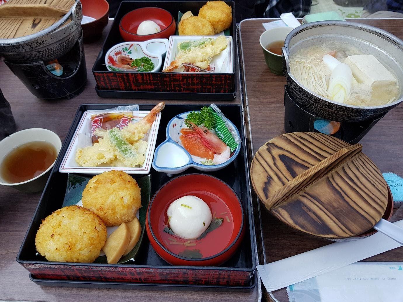 Japanese style breakfast. tempura, tofu soup.