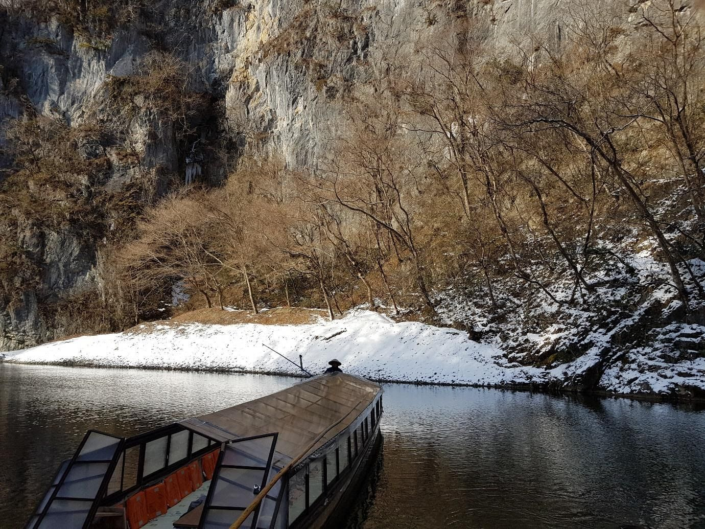 boat riding along lake Geibi gorge.