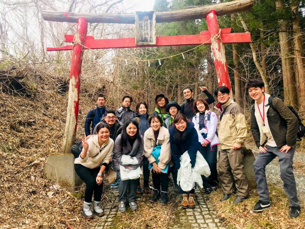 Waking in a group through the Ohakozaki trail.