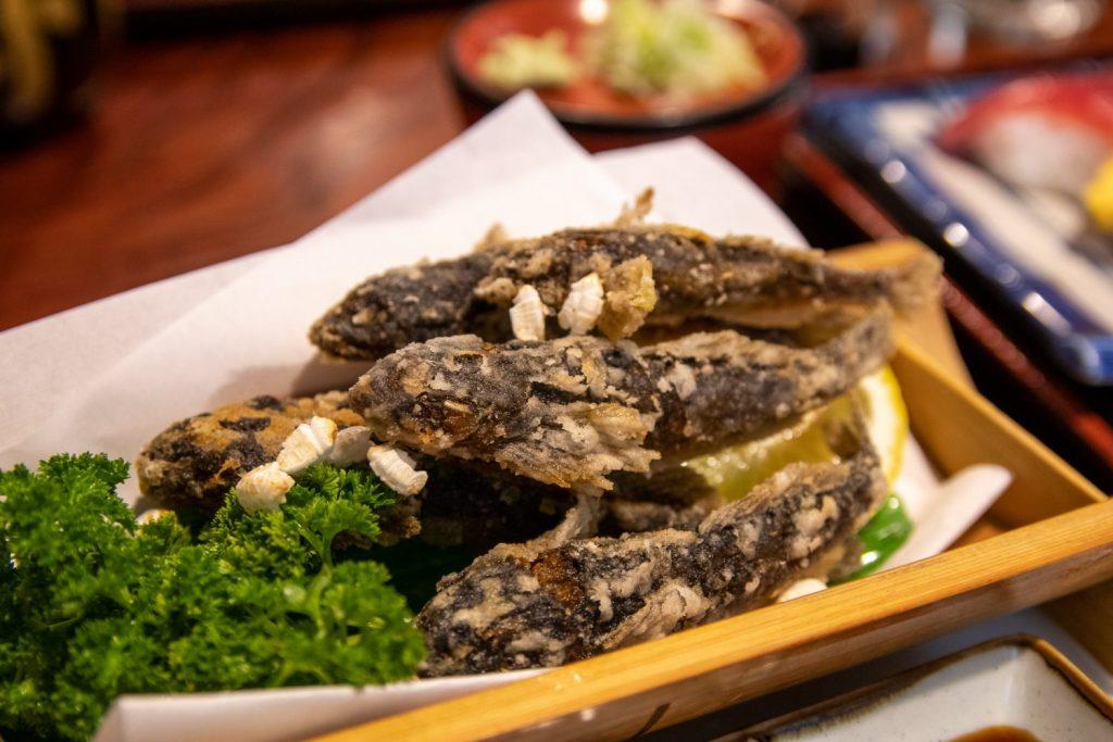 Fried Kajika fish at Hana Sushi shop in Tenei Mura.