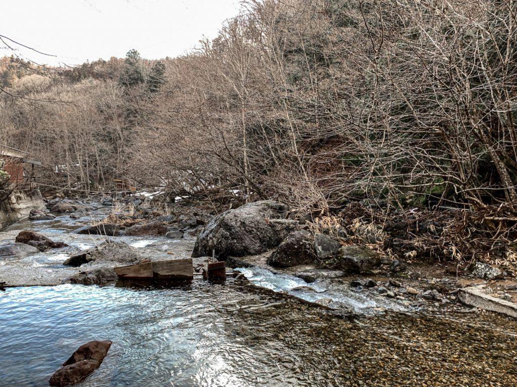 River flowing by Kashiwaya Ryokan in Tenei Mura