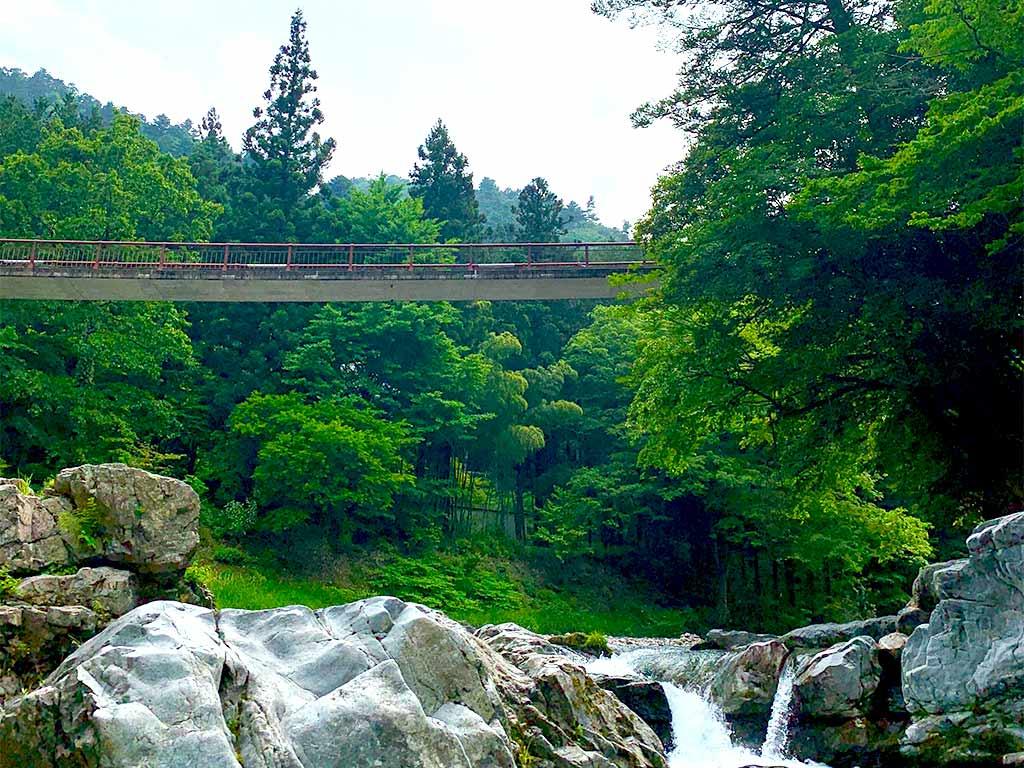 Famous red bridge in Akigawa Valley